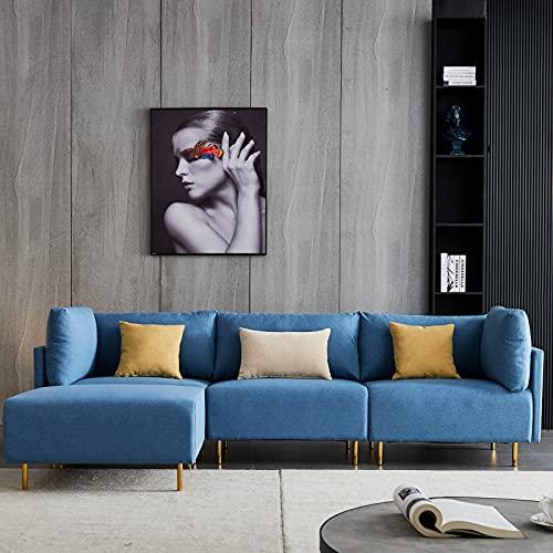 Ecksofa Schlafsofa, mit Federkern,Sofa in L-Form,Mit Abnehmbarer Fußstütze,Polsterecke Ecksofa Stoff,Ausländer