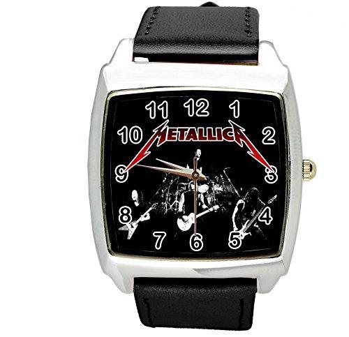 taport® cuadrado negro real cuero banda reloj de cuarzo metallica + libre batería de repuesto + libre bolsa de regalo