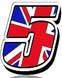 Biomar Labs Número 5 Bandera Nacional de Gran Bretaña Reino Unido UK Calavera Vinilo Adhesivo Pegatina Coche Auto Motocross Moto Sport Start Racing Tuning N 295