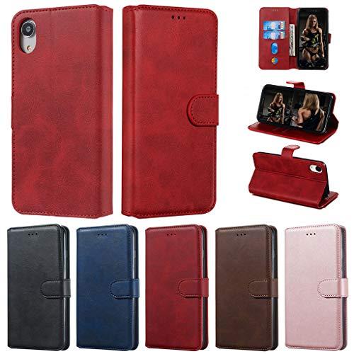 Careynoce iPhone Xr Coque,Veau Couleur unie Cuir PU Portefeuille Conception Flip avec Fonction Support Housse Etui Cuir Coque Pour iPhone Xr - Rouge