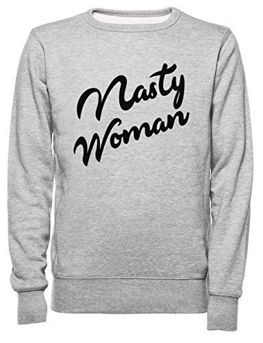 Rundi Nasty Woman Herren Damen Unisex Sweatshirt Jumper Grau Größe M - Women's Men's Unisex Sweatshirt Jumper Grey