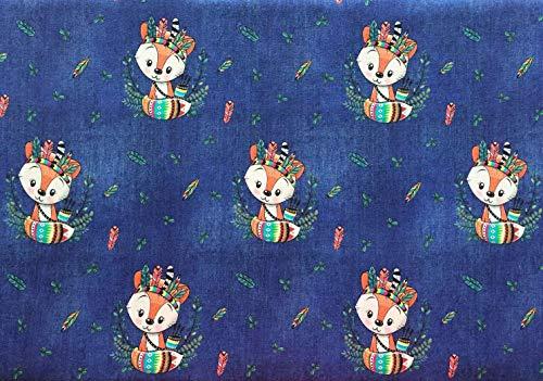Tessuto a cuore Austria, 1 m, jersey di cotone con volpe come indiano su denim blu scuro, pretagliato, senza vendita al metro, circa 150 cm di larghezza – Ökotex