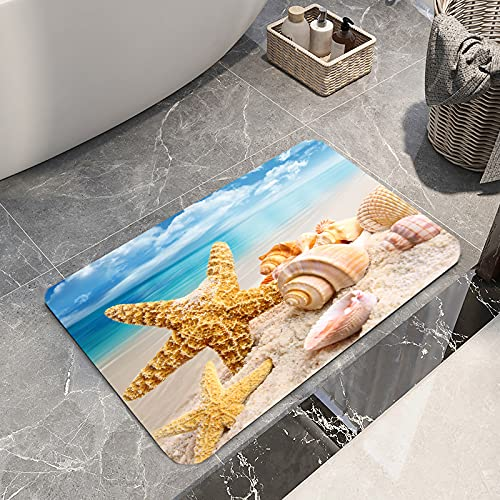 Non Slip Bath Rugs Sponge Foam for Bathroom,Durable Flannel Mat Bright 3D Print Rug for Living Room, Absorbent Water Clearance MatS for Forlaundry Room and Kitchen, Conch Beach Themed Decor carpt