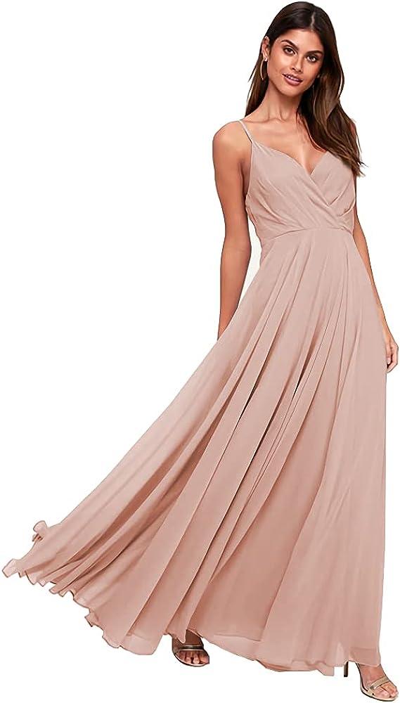 Stylefun Super beauty product restock quality top! Genuine Women's V-Neck Spaghetti Strap Bridesmaid Dresses Long