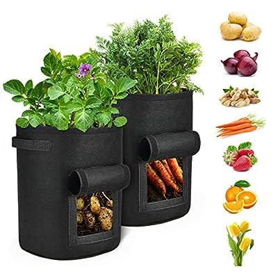Tikola Pack de 2 Sacs pour Culture de Pommes de Terre, Sac pour Plantes de 7 gallons avec fenêtre et poignées, Pots en Tissu Non-tissé pour Pommes de Terre, Carottes et tomates