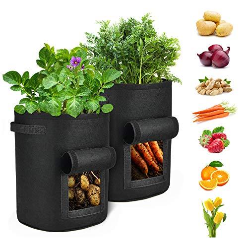 iTrunk 2er Pack Kartoffel Pflanzbeutel,7 Gallonen Pflanztasche mit Sichtfenster und Griffen, Vliestopfbehälter für Kartoffeln, Karotten, Tomaten, etc.