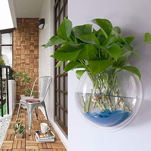 Votabell 壁掛け 水槽 アクアリウム 半球型 金魚鉢 植木鉢 観葉植物 花瓶 インテリア飾り (23cm)