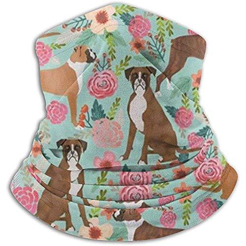 Boxer Dog Cute Flowersals Invierno Calentador de cuello Polainas Banda para el cabello Tubo para clima frío Mascarilla Térmica Bufanda de cuello Protección UV al aire libre