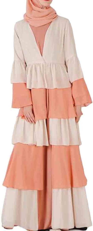 OTW Women's Maxi Tiered Dress Long Sleeve Long Cardigan Coat Islamic Muslim Abaya Robe