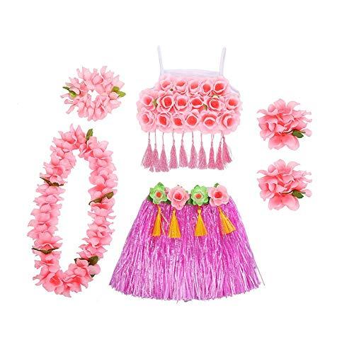 6 in 1 Hawaï-kostuum voor dames, Hawaïaanse rok, Hawaïaanse feestaccessoires
