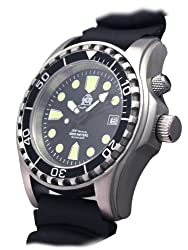 Diver watch m. Automatic movement sapphire glass PU band helium valve T0257