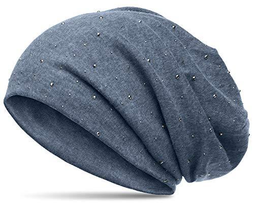 Caspar Caspar MU137 Beanie Mütze mit Strass und warmem Flanell Stoff, Größe:One Size, Farbe:jeansblau (meliert)