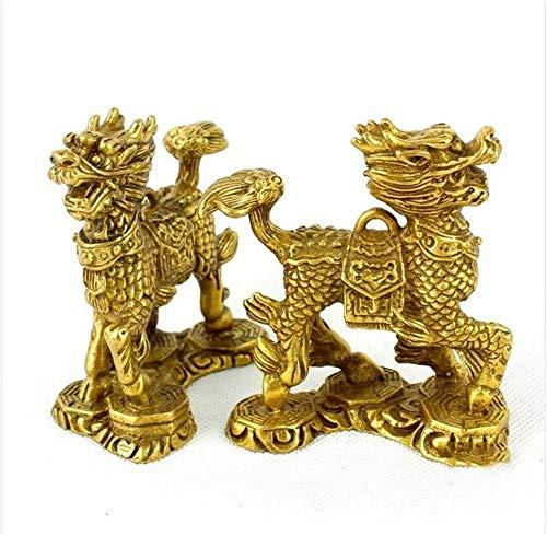 AINIYF Un par de Feng Shui estatuas de latón Chi Lin/Qilin/Kilin Las esculturas, for el hogar y la Oficina Decoración Figuras Símbolo de Riqueza y Buena Suerte Feng Shui Decoración Regalo, S, Tama
