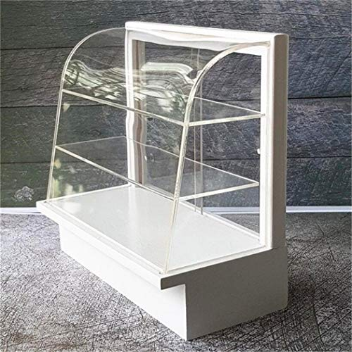 EatingBiting(R) 1:12 Dollhouse Miniature Shop Store Room White Design Acrylic Display Bakery Cake Cabinet Shelving Handcraft Dollhouse Miniature Stand Craft time for Selection Food Miniature