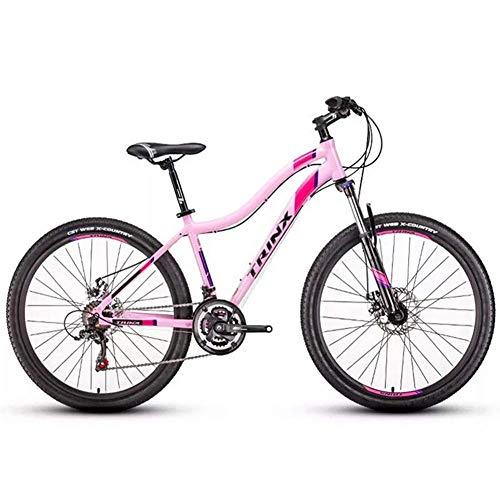 Damen Mountain Bikes, 21-Gang-Doppelscheibenbremse Mountain Trail Bike, Vorderradaufhängung Hardtail Mountainbike, Erwachsene Fahrrad, 24 Zoll Weiß FDWFN (Color : 26 Inches Pink)