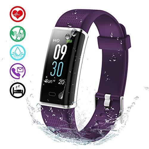 KALINCO Aktivitätstracker Fitness Armband mit Pulsmesser 0,96 Zoll Farbbildschirm Fitness Tracker Pulsuhren Schrittzähler Schlafmonitor für Damen Herren 14 Trainingsmodi (Lila)
