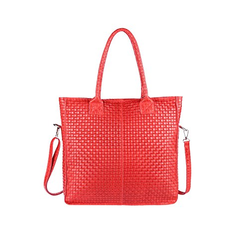 OBC Made in Italy Damen Tasche Echtes Leder Din-A4 Shopper Tote Bag Henkeltasche Handtasche Umhängetasche Schultertasche Flechtoptik Rot