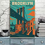 WADPJ Nueva York Brooklyn Bridge Paisaje Lienzo Pintura Poster Print Famous Building Wall Art Picture for Living Room Decor-50x70cmx1 pcs sin Marco
