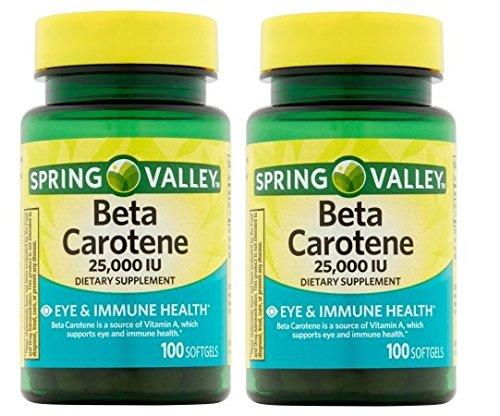 Spring Valley Beta Caroteno 25000IU 100ct Softgels (Pack de 2)