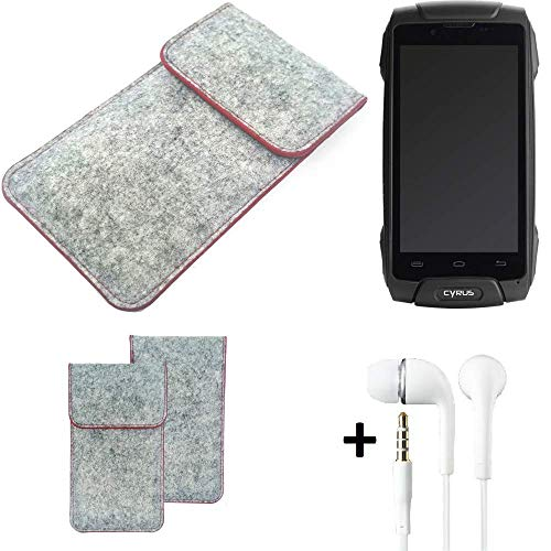 K-S-Trade® Handy Schutz Hülle Für Cyrus CS 30 Schutzhülle Handyhülle Filztasche Pouch Tasche Case Sleeve Filzhülle Hellgrau Roter Rand + Kopfhörer