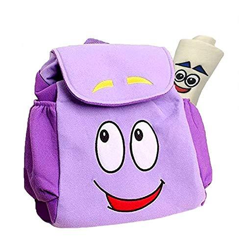 Dora Explorer Backpack Dora Bag,12.5inch Dora Explorer Rescue Bag with Map (Light purple)