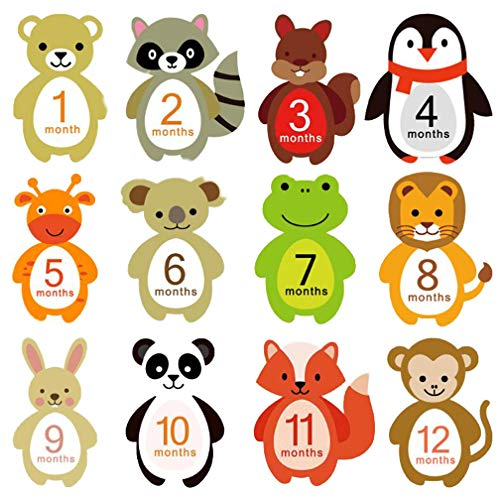 Baby Monthly Milestone Stickers Animal Newborn 1-12 Month Stickers for Infant Pregnant Women Photo Props