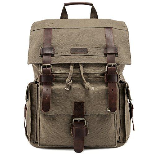 Kattee Men's Leather Canvas Backpack Large School Bag Travel Rucksack Army Green