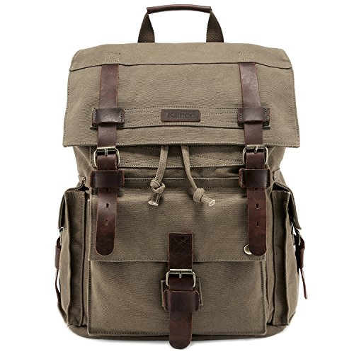 Kattee Men's Leather Canvas Backpack Large School Bag Travel Rucksack...