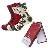 CHIC DIARY - Calcetines de Navidad coloridos y divertidos con motivos navideños para mujer, regalo de Navidad 3 pares de calcetines con caja de regalo #1. Talla única