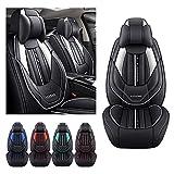 Juego de fundas para asiento de coche de lujo para UDI A6 Sedan Avant, funda de cojín de piel sintética para vehículo impermeable compatible con airbag (negro blanco)