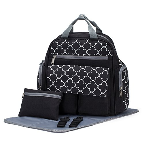 SoHo Bedford Diaper Bag Backpack 4Pc Set, Black