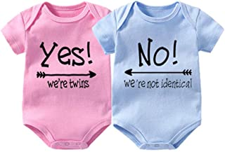 Baby Bodysuits for Twin Boys Girls Twin Clothes Unisex Short Sleeve Yes We are Twins No We are Identical