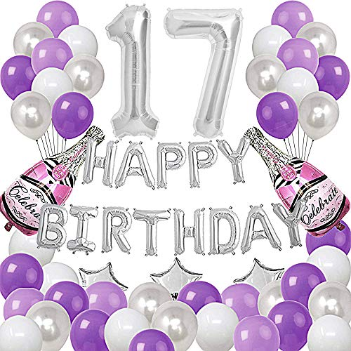 Silver Number 17 Foil Balloons Happy Birthday Banner with 47Pcs Latex and Foil Balloons for 17th and 71st Birthday Party Decoratons Purple Silver Theme Party Supplies