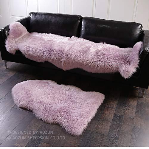ASDAD honing roze kleur 2P hele huid Nieuw-Zeeland schapenvacht tapijt 60 * 180 cm paars shaggy schapenvelt decoratief tapijt voor meisjes bed glijbaan tapijt