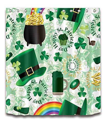 ZZZdz St. Patrick's Day. Gouden munten, regenboog. Gordijn. Douchegordijn. Accessoires voor de badkamer. 180 x 180 cm. 3D Hd Afdrukken. Waterdicht. Niet vervagen.