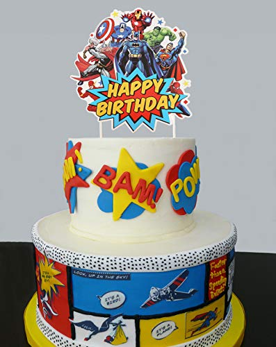 Super Hero Cake Topper For Birthday Party Birthday Cake Decorations supply Kid's Super Birthday Party.