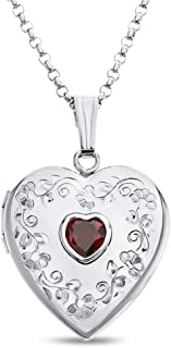 garnet heart locket