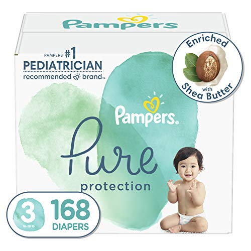 Diapers Size 3, 168 Count - Pampers Pure Protection Disposable Baby Diapers, Hypoallergenic and Unscented Protection, ONE Month Supply (Packaging May Vary)