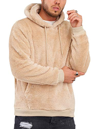 Rello & Reese Herren Teddy-Fell Hoodie mit Kapuze Fleece Pullover Fleecejacke Sweatjacke [Beige, M]