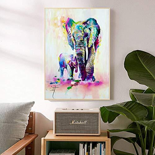 ganlanshu Rahmenlose Malerei Tierkunst Elefantenkopf Aquarell Leinwand Malerei Wohnzimmer Wohnkultur Malerei WandkunstZGQ5745 30X45cm