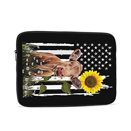 NYIVBE Heifer USA Flag Sunflower Cow Laptop Sleeve Bag Compatible with MacBook Pro,MacBook Air,Notebook Computer,Tablet,Water Resistant Durable Unisex Portable Laptop Case 17 inch