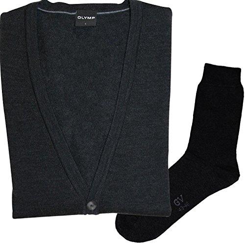 OLYMP Strick Cardigan Strickjacke - Merinowolle, V-Ausschnitt, anthrazit + 1 Paar hochwertige Socken, Bundle