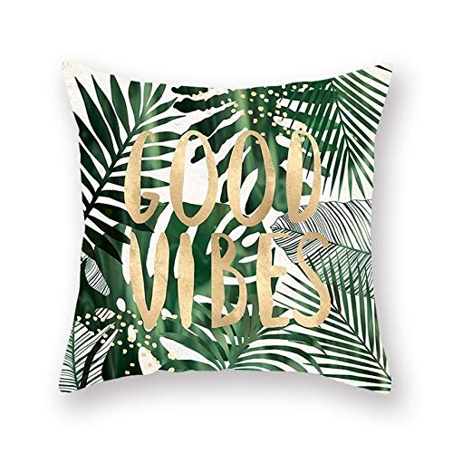 LASISZ kussensloop voor tropische planten polyester decoratieve kussenslopen groene bladeren vierkante kussensloop 45 * 45 cm