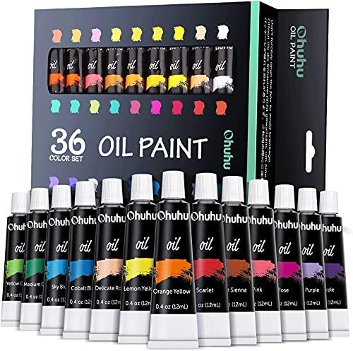 Set di pittura a olio, colori Ohuhu 12ml x 36 colori per carta, tela, legno, ceramica, tessuto e artigianato, regali ideali e premium per bambini e artisti
