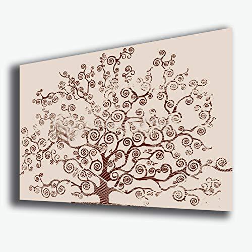 Quadro moderno ALBERO DELLA VITA arte moderna Style KLIMT beige STAMPA SU TELA canvas Quadri Moderni Cucina Salotto Soggiorno Camera da letto printerland.it (70x100 cm)