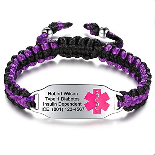 Medical Alert Bracelets for Women | Medical ID Bracelets for Men | Custom Medical Alert Bracelets Personalized Engraved Medical ID Bracelet | Braided Rope Medical Alert ID Bracelet 6.5inch-8.5inch