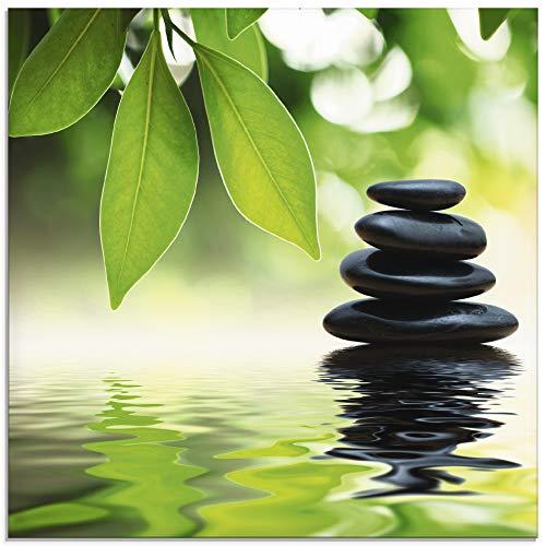 Artland Glasbilder Wandbild Glas Bild einteilig 50x50 cm Quadratisch Asien Wellness Entspannung Spa Zen Steine Gräser Pyramide Wasser T5UJ