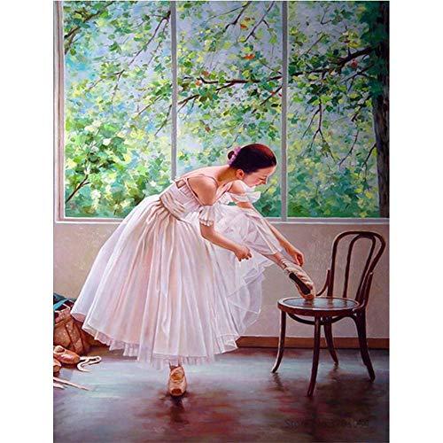 DIY 5D Diamond Painting Frameless, Dancer Girl Russian Ballet, Cross-Stitch Full Diamond Square Diamond Crystal Rhinestone Picture Art for Home Decoration. WZQUQ (40x50cm 16x20inch) ZA1772