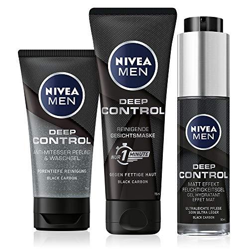 NIVEA MEN Deep Control Gesichtspflege Set, Pflegeroutine für Männer mit Peeling, Gesichtsmaske und Feuchtigkeitsgel, tolle Pflegekombination für den gepflegten Mann