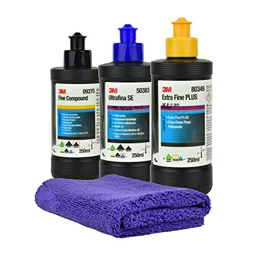 3M 09375 Fine Compound 250ml + 3M 50383 Ultrafiner Compound 250ml + 80349 Extra Fine Plus 250ml + Gloss Microfiber Polier- und Trockentuch Set